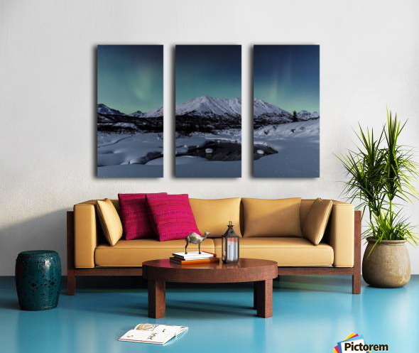 Aurora Borealis (Northern Lights) dance above Idaho Peak and the Little Susitna River at Hatcher Pass in winter, South-central Alaska; Alaska, United States of America Split Canvas print