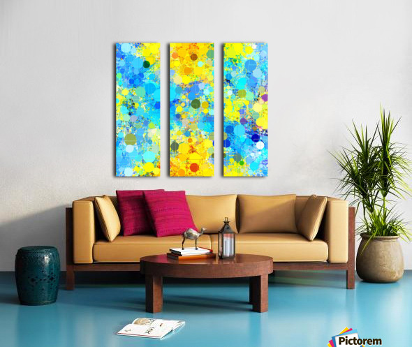 psychedelic geometric circle pattern and square pattern abstract in yellow and blue Split Canvas print