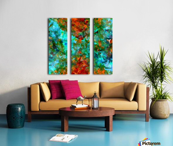 psychedelic geometric abstract pattern in green blue orange Split Canvas print