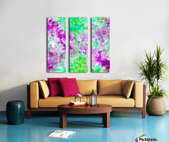 psychedelic geometric triangle abstract pattern in purple and green Split Canvas print