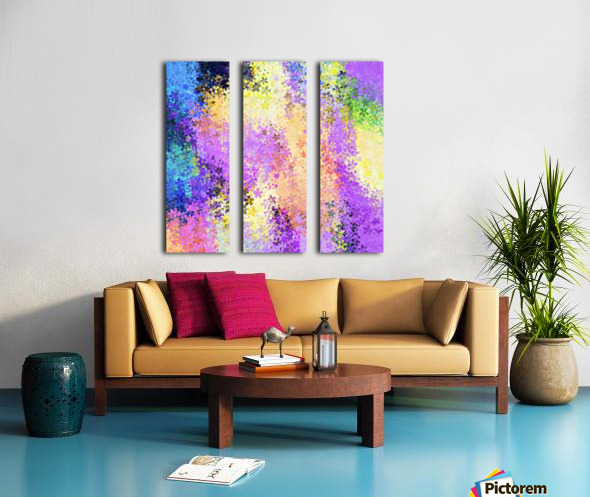 flower pattern abstract background in purple yellow blue green Split Canvas print