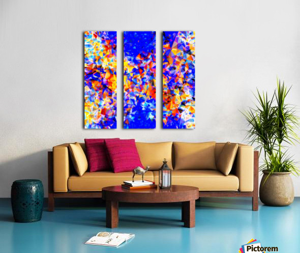 psychedelic geometric triangle abstract pattern in blue orange yellow Split Canvas print