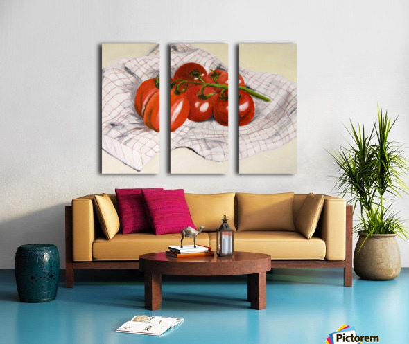 Tomatoes on a Striped Cloth  Split Canvas print