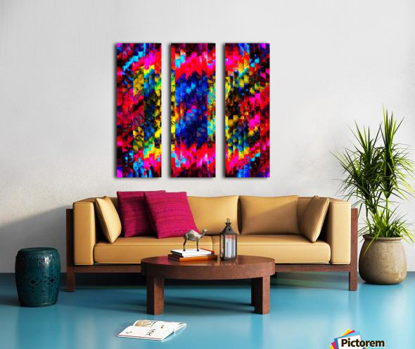 psychedelic geometric painting abstract pattern in red pink blue yellow Split Canvas print