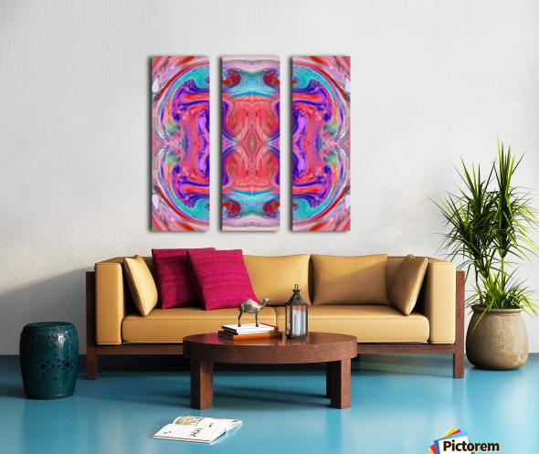 psychedelic geometric symmetry abstract pattern in red pink blue Split Canvas print
