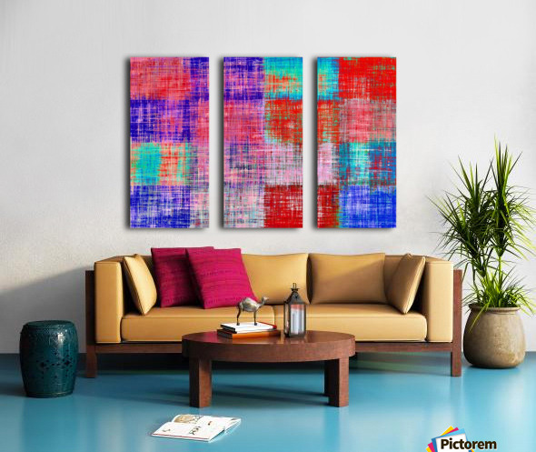 square plaid pattern texture abstract in red blue pink purple Split Canvas print