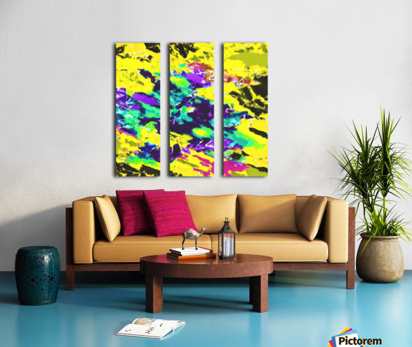 psychedelic splash painting abstract texture in yellow blue green purple Split Canvas print