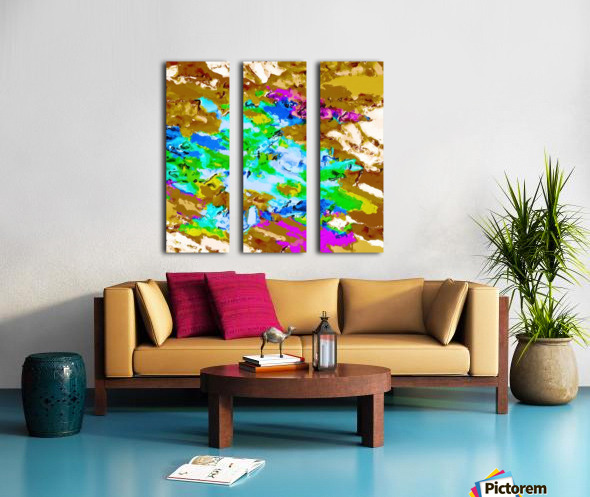 psychedelic splash painting abstract texture in brown green blue pink Split Canvas print