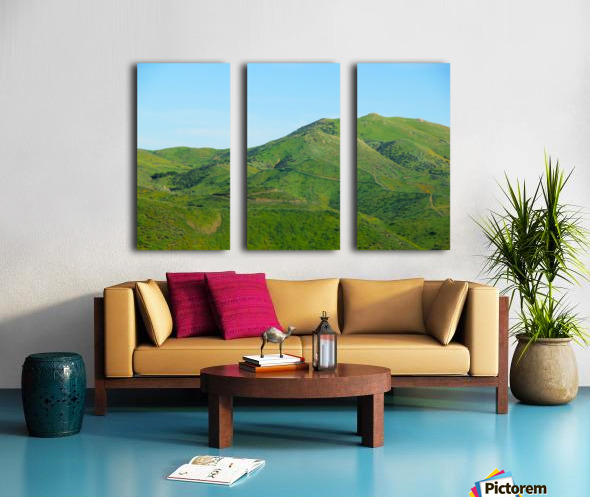 green field and green mountain with blue sky Split Canvas print
