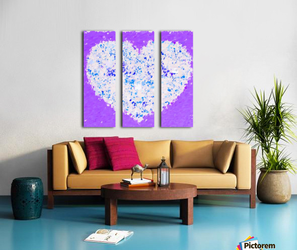 blue and white heart shape with purple background Split Canvas print