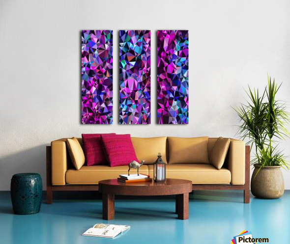geometric triangle polygon pattern abstract in pink blue black Split Canvas print