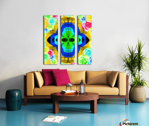 funny skull portrait with colorful roses in pink blue yellow green Split Canvas print