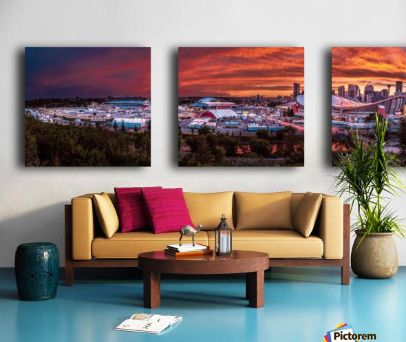Calgary After the Storm - Fire in the Sky Split Canvas print