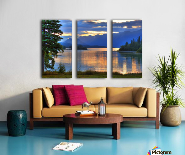 Sunrise On Lake Clark In Lake Clark National Park, Southcentral, Alaska, Hdr Image Split Canvas print