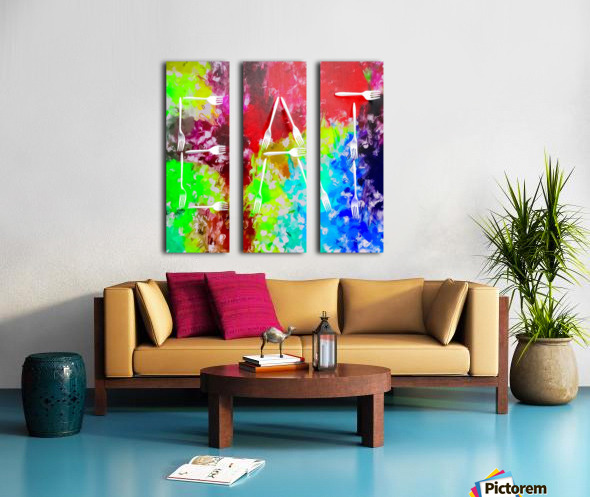EAT alphabet by fork with colorful painting abstract background Split Canvas print