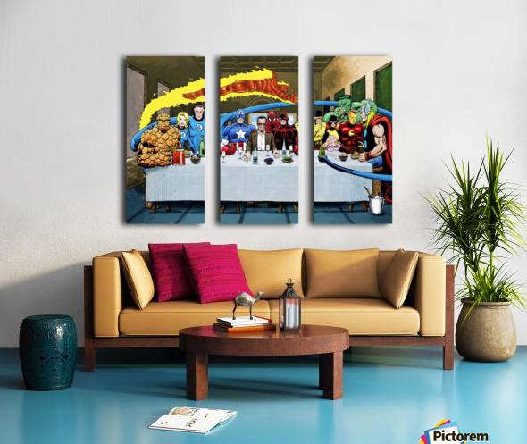 Marvel Superheroes: Stan Lee's Super Supper with Avengers, Fantastic Four, X-Men, Spider-Man & More Split Canvas print
