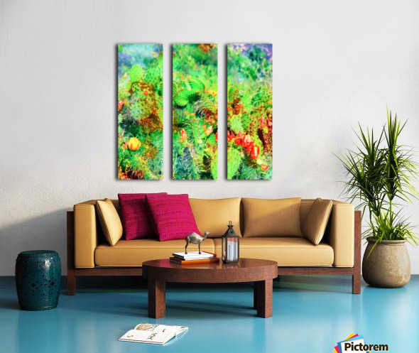 green cactus with yellow and red flower in the desert Split Canvas print
