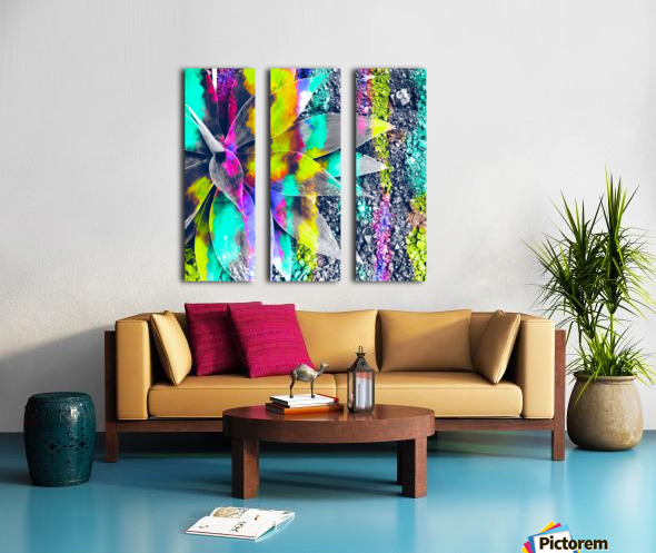succulent plant with painting abstract background in green pink yellow purple Split Canvas print