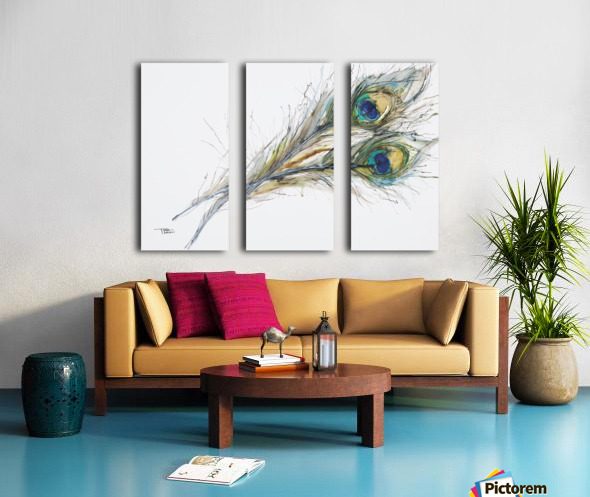 Watercolor Painting Of Two Peacock Feathers. Split Canvas print