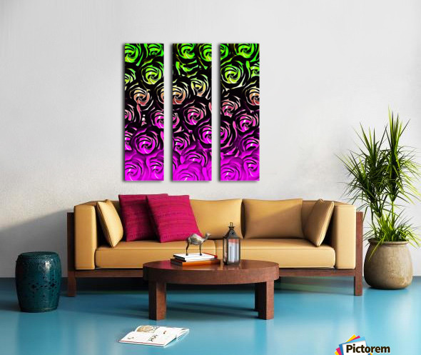 rose pattern texture abstract background in green and pink Split Canvas print