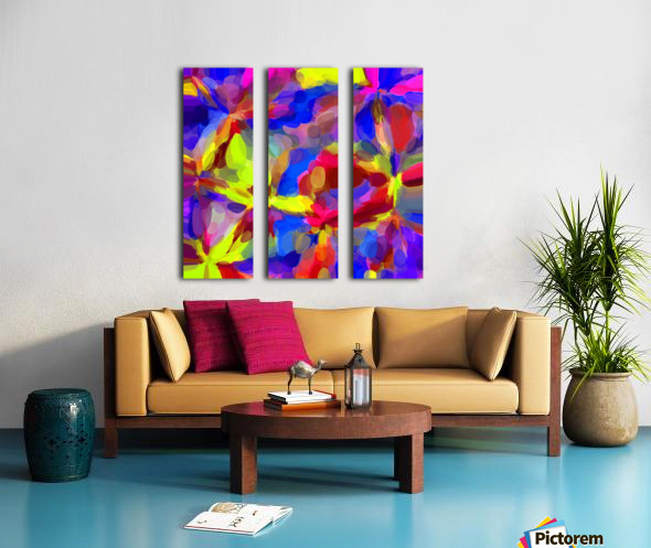 circle pattern abstract background in blue yellow red pink Split Canvas print