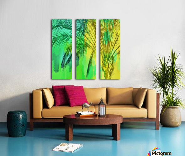 isolate palm tree with painting abstract background in green yellow Split Canvas print