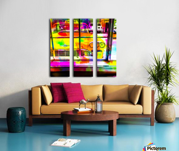 yellow classic taxi car with colorful painting abstract in pink orange green Split Canvas print