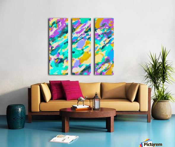 camouflage pattern painting abstract background in green blue purple yellow Split Canvas print