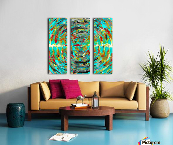 psychedelic circle pattern painting abstract background in green blue yellow brown Split Canvas print