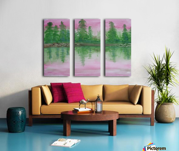 Reflections in the lake. Split Canvas print