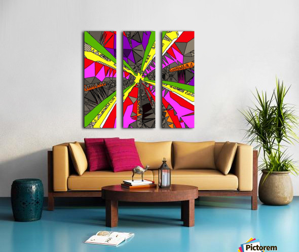 psychedelic geometric pattern drawing abstract background in red pink green yellow Split Canvas print