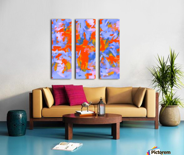 splash painting texture abstract background in red blue orange Split Canvas print