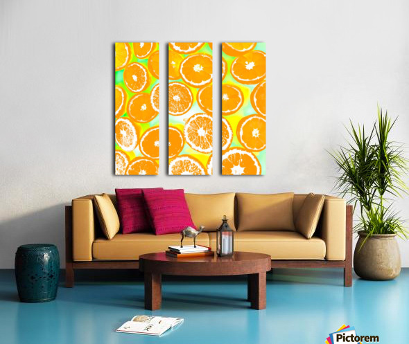 juicy orange pattern abstract with yellow and green background Split Canvas print