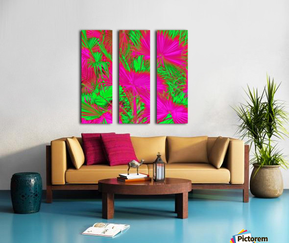 closeup palm leaf texture abstract background in pink and green Split Canvas print