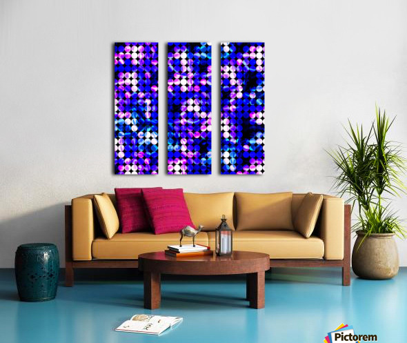 circle pattern abstract background with splash painting abstract in blue and pink Split Canvas print