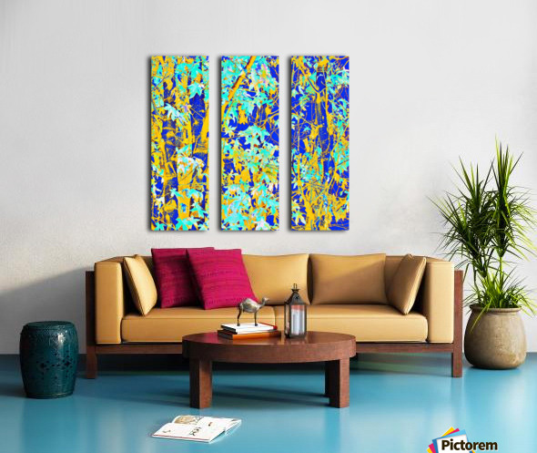 green maple tree leaf with blue and yellow abstract background Split Canvas print