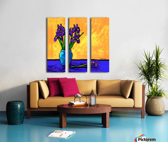 IRIS BOUQUET ON YELLOW Split Canvas print