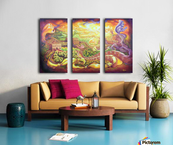The dragons of the Great Wall Split Canvas print