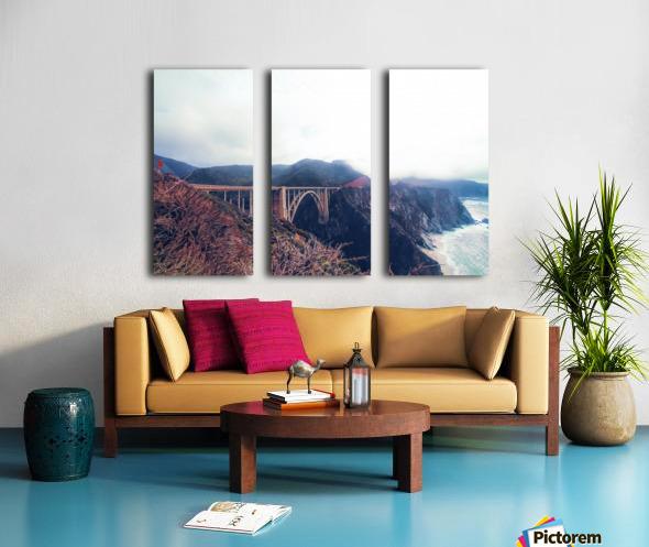 beautiful landscape at Bixby bridge, Big Sur, California, USA  Split Canvas print