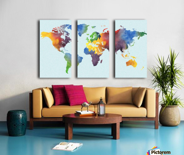 Bright Watercolor Map Of The World Split Canvas print