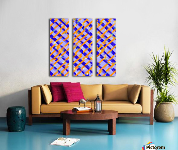 geometric pixel square pattern abstract background in orange blue purple Split Canvas print
