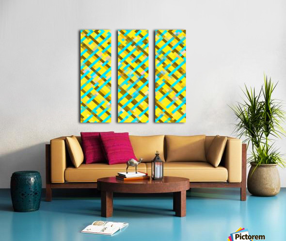 geometric pixel square pattern abstract background in yellow blue brown Split Canvas print