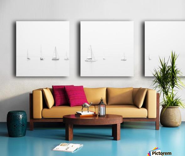 sea black and white ocean boats Split Canvas print
