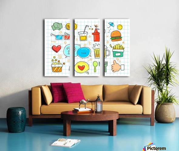colorful doodle Split Canvas print
