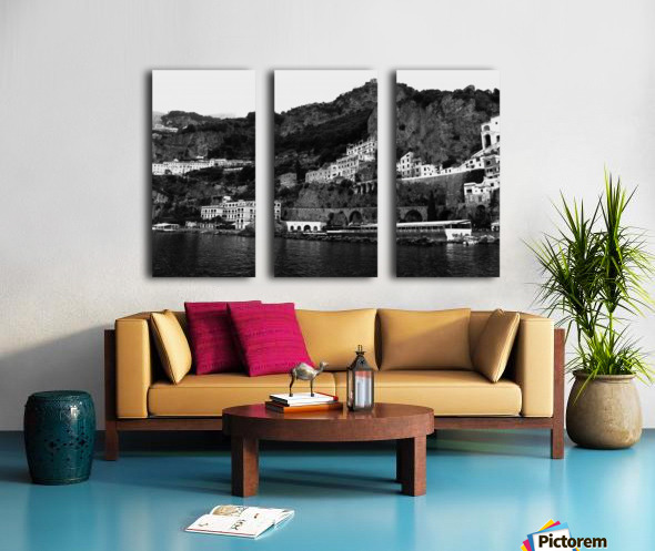Amalfi Coast Black and White Landscape Split Canvas print