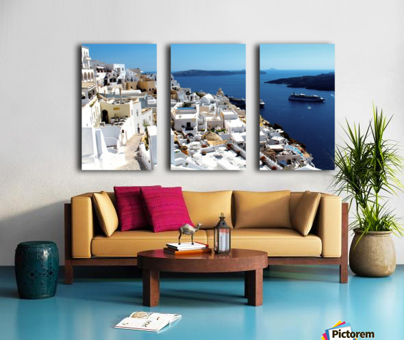 Super panoramic view - Santorini - Greece Split Canvas print