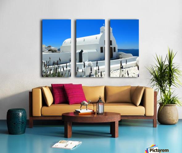 Small White Church in Santorini - Greece Split Canvas print