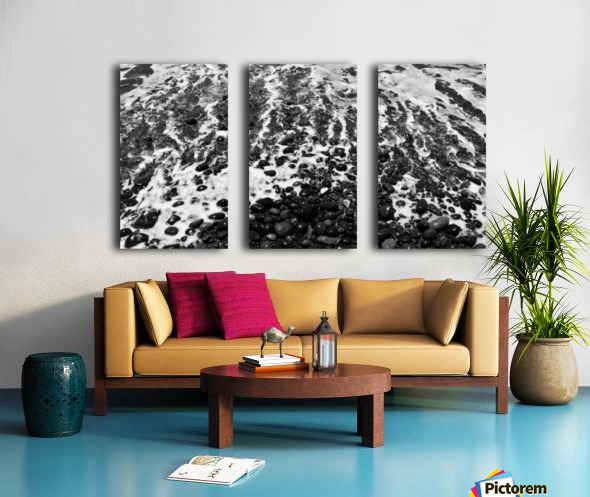 The Beach - Ocean waves in Black and White Split Canvas print