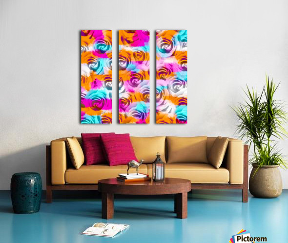 closeup rose texture pattern abstract background in pink orange blue Split Canvas print