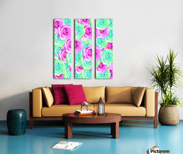 blooming rose texture pattern abstract background in pink and green Split Canvas print